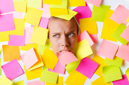 Woman with lots of reminder notes Stock Photo - 15566358