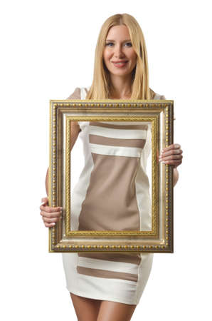 Picture frame and attractive woman photo