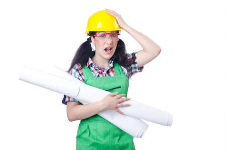 Woman architect isolated on white Stock Photo - 15566223