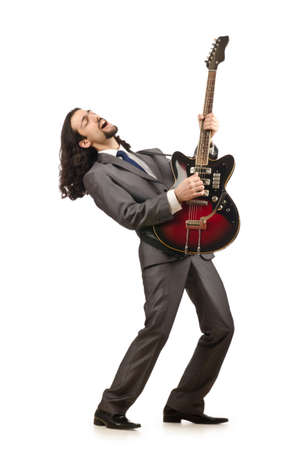 Businessman playing the guitar on white photo