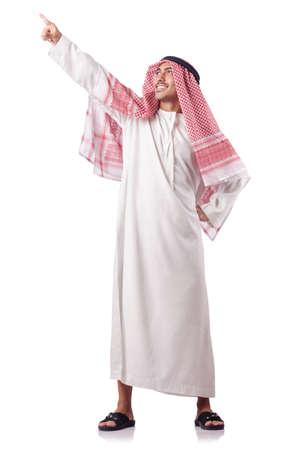 hombre arabe: Hombre árabe presionando los botones virtuales