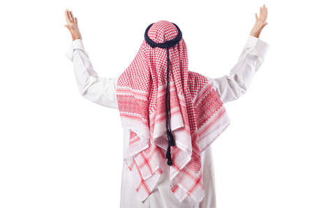 man praying: Arab man praying on the white