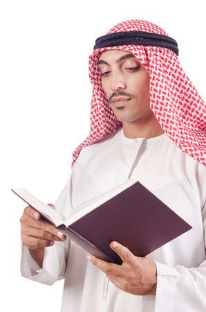 Arab man praying on white photo
