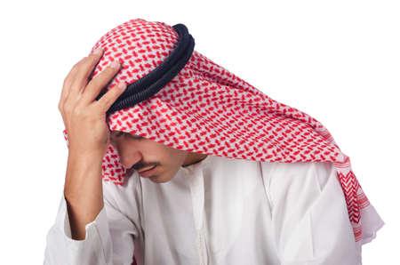 hombre arabe: Joven árabe aislada en el blanco