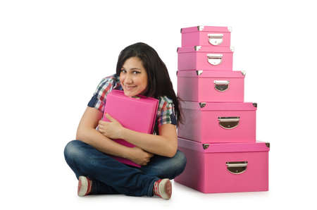 Girl with stack of giftboxes Stock Photo - 15766755