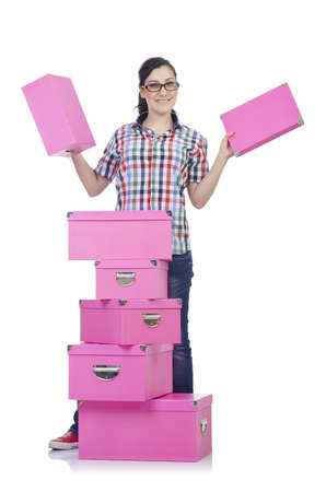 Girl with lots of gifts on white Stock Photo - 15766725