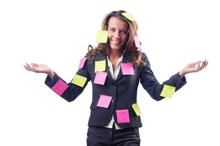 Woman with lots of reminder notes Stock Photo - 15766812