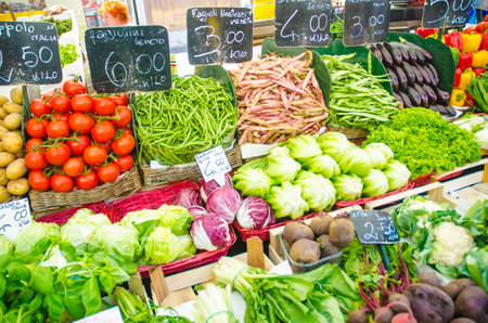 Fruits and vegetables at the market stall Stock Photo