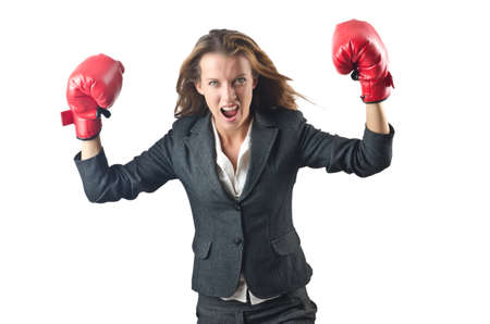 Young businesswoman in boxing concept Stock Photo - 15766862