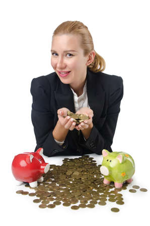 Woman breaking piggy bank for savings photo
