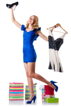 Attractive woman trying new clothing on white Stock Photo - 15766713