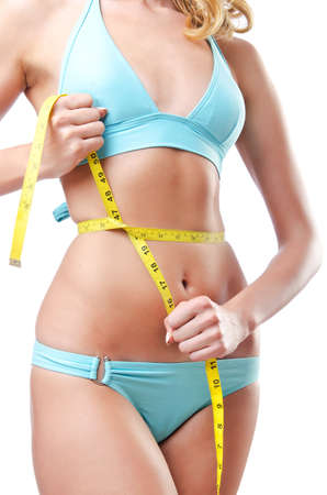 Young lady with centimetr in weight loss concept