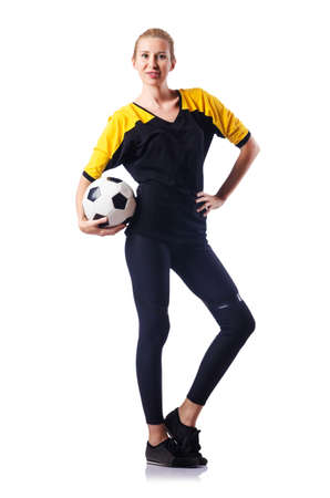Woman playing football on white Stock Photo - 15766567