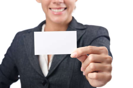 Woman with blank message on white Stock Photo - 15729302