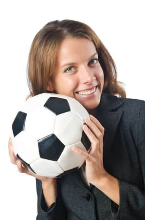 Businesswoman with football on white photo