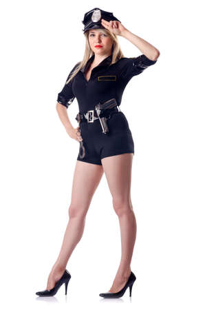 Woman police isolated on white Stock Photo - 15766608