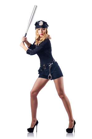 Woman police with baseball bat Stock Photo - 15766569