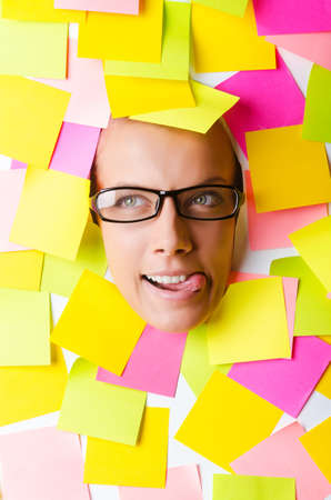 Woman with lots of reminder notes Stock Photo - 15766995