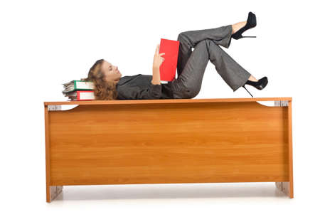 Busy businesswoman isolated on the white Stock Photo - 15766933