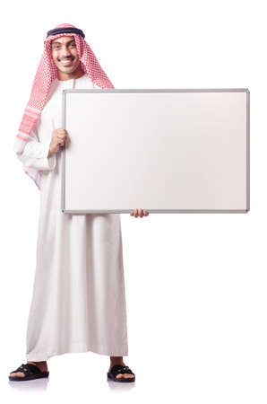 Arab man with blank board on white photo