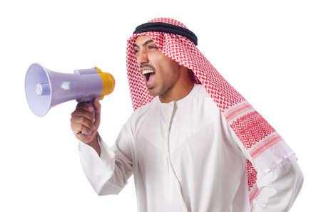 middle eastern clothing: Uomo arabo gridando attraverso altoparlante Archivio Fotografico