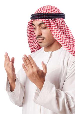 kameez: Arab man praying on white