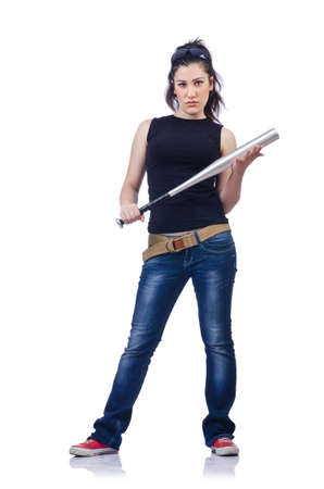 gangster girl: Woman criminal with bat on white