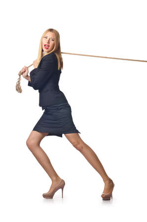 Woman pulling rope on white photo
