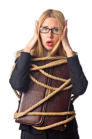 Woman businessman tied up with rope Stock Photo - 15926638