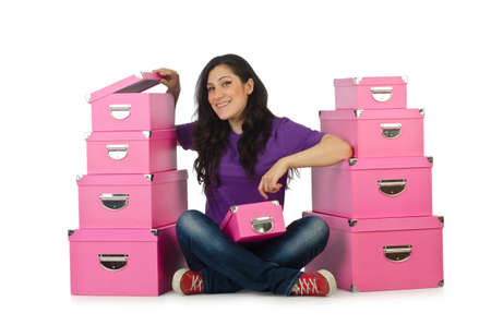 Girl with stack of giftboxes Stock Photo - 15926076