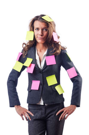 postit note: Woman with lots of reminder notes