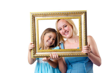 Happy mom and daughter on white photo