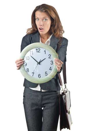 Businesswoman with clock isolated on white Stock Photo - 15926278