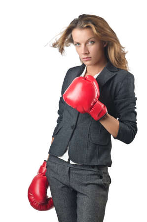 Young businesswoman in boxing concept Stock Photo - 15926516