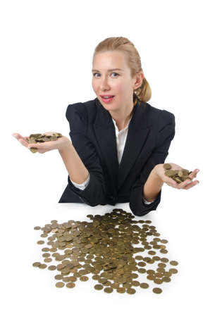 Woman with lots of coins on white photo
