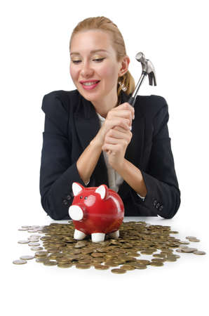 Woman breaking piggy bank for savings Stock Photo - 16064572