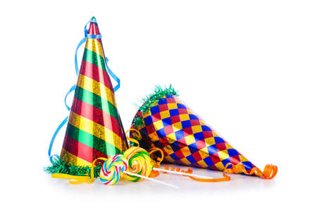 party hats: Party items on the white