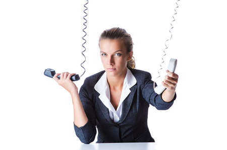 Female helpdesk operator on white Stock Photo - 15925848