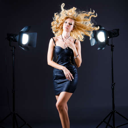 Attractive woman in studio shooting Stock Photo - 15926249