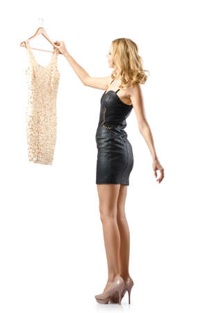 Young attractive woman trying new dresses Stock Photo - 15925059