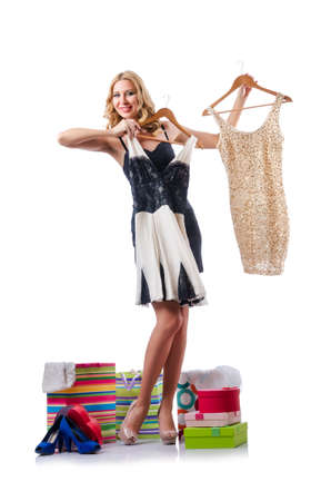 Attractive woman trying new clothing on white Stock Photo - 15925483
