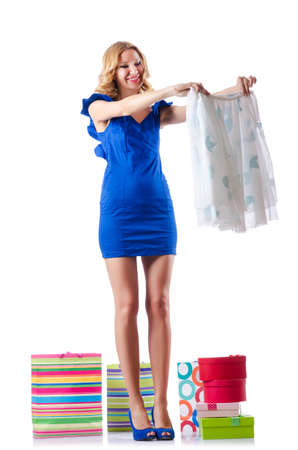 Attractive woman trying new clothing on white Stock Photo - 15925663