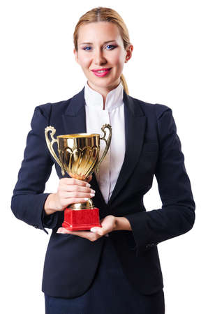 Businesswoman with prize on white photo