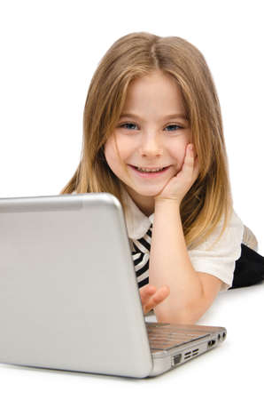 Cute girl with laptop on white Stock Photo - 15926333