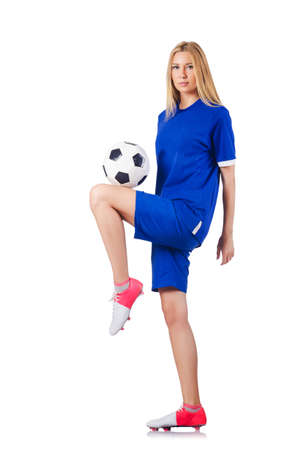 women playing soccer: Woman playing football on white