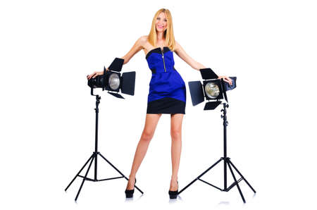 Attrative woman in photo studio Stock Photo - 15924511