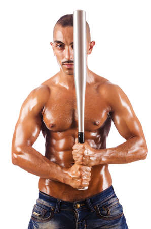 Muscular man with baseball bat Stock Photo - 15926561