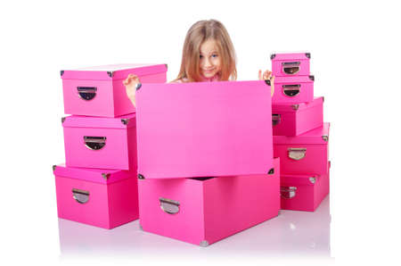 storage box: Little cute girl with lots of boxes