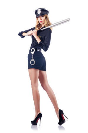 Woman police with baseball bat Stock Photo - 15924553