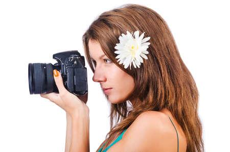 Attractive female photographer on white Stock Photo - 15926568